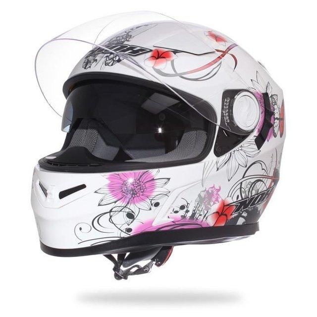 ... Nox N915 dámská bílá růžová integrální přilba na motorku se sluneční  clonou ... 98051bd07de