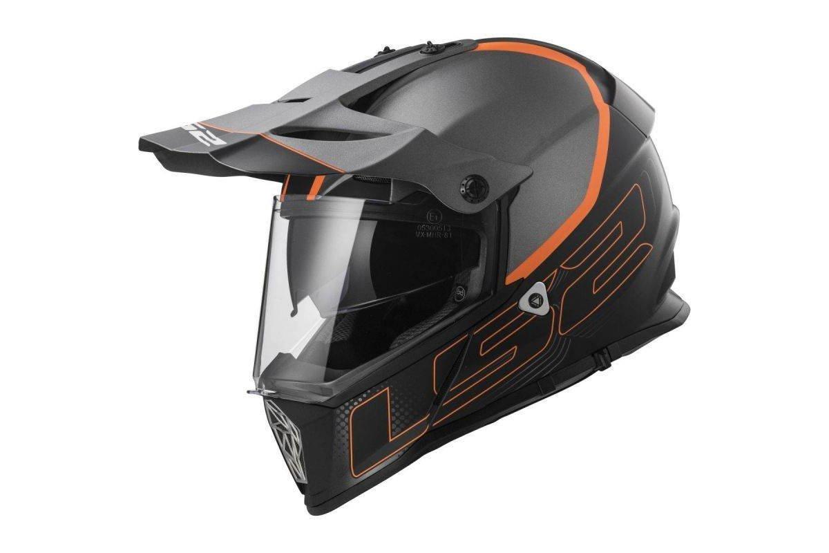 LS2 MX436 Pioneer ELEMENT černá matná titanová oranžová enduro helma na  motorku 124270e84a