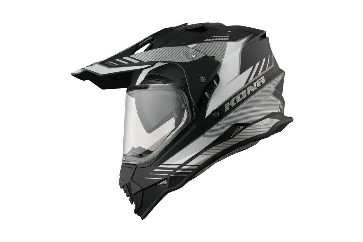 Vemar Kona Explorer černá matná bílá stříbrná enduro helma na motorku 3773a07821