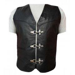 Moto kožená pánská vesta Rocker, s zapínáním na karabinu