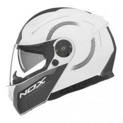 NOX N965 Peak bílá bílá výklopná přilba na motorku
